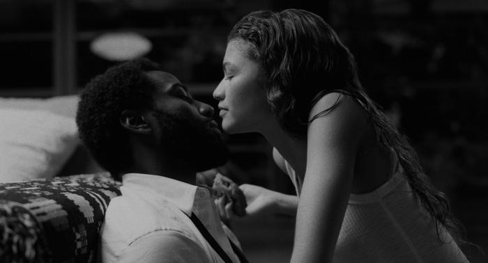 "John David Washington, left, and Zendaya, right, in a scene from ""Malcolm & Marie."""