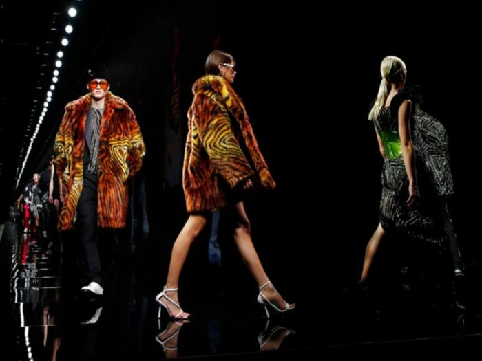 models wear creations as part of Versace Fall/Winter 2020/2021 collection, presented in Milan, Italy.