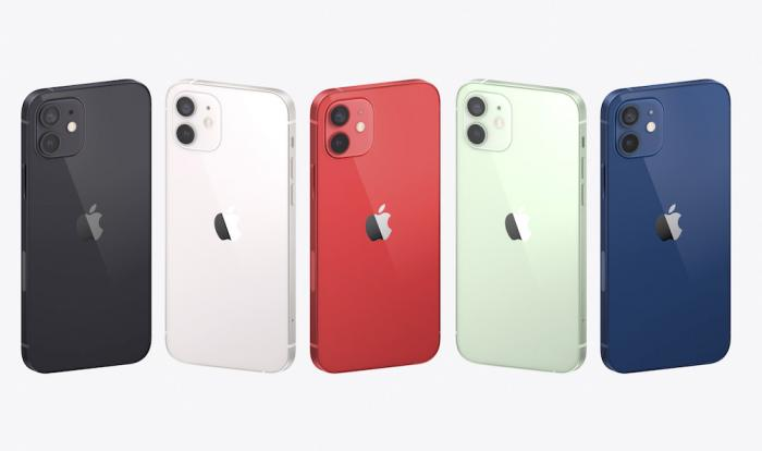 A display of the new iPhones