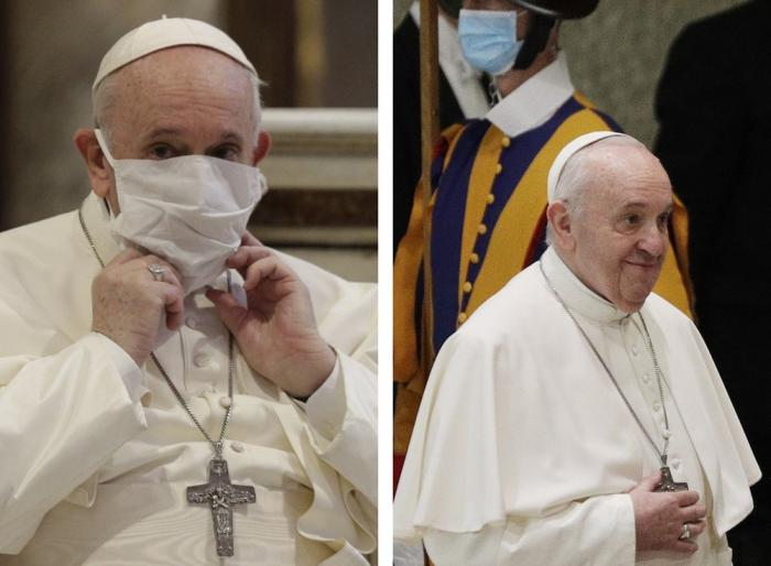 Pope Francis on Tuesday October 20 (left) and at the general audience the next day (right)