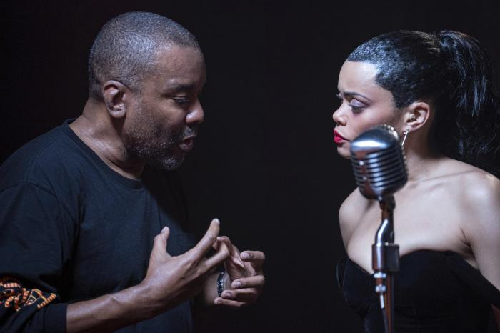 """Director Lee Daniels, left, with Andra Day on the set of """"The United States vs. Billie Holiday."""""""