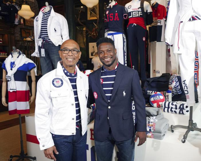 Olympic medalists in fencing, Peter Westbrook, left, and Daryl Homer model the Team USA Tokyo Olympic opening ceremony uniforms at the Ralph Lauren SoHo store.