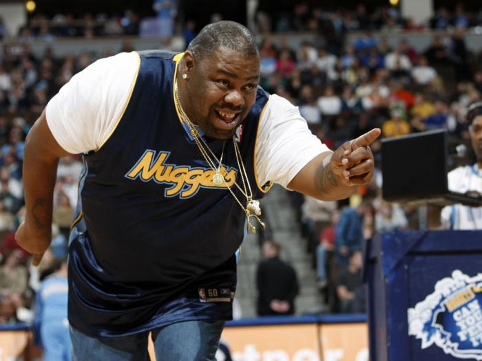 Biz Markie performs for fans during halftime of the Denver Nuggets' 105-99 victory over the Phoenix Suns in an NBA basketball game in Denver on Dec. 12, 2009