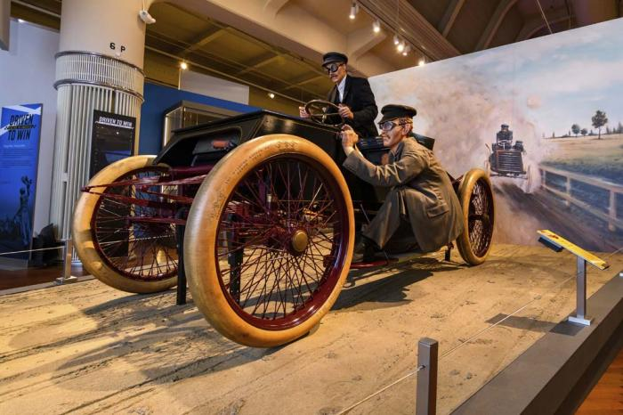 """This image provided by the The Henry Ford, shows the """"Sweepstakes"""" car, part of the Driven To Win exhibit at the The Henry Ford Museum in Dearborn, Mich."""