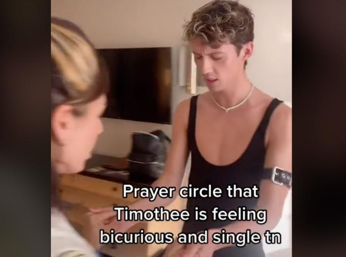 Troye Sivan and a friend in a TikTok.